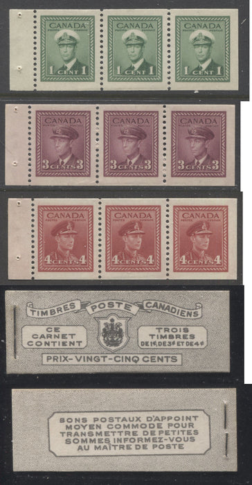 Canada #BK38a 1942-1949 War Issue Complete 25c, French Booklet Containing 1 Pane Each of 3 of 1c Green, 3c Rose-Purple and 4c Carmine Red, Harris Front Cover Type Vf , Back Cover Ji, 7c & 6c Rate Page Brixton Chrome