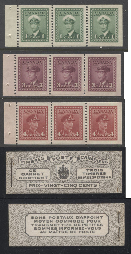 Canada #BK38a 1942-1949 War Issue Complete 25c, French Booklet Containing 1 Pane Each of 3 of 1c Green, 3c Rose-Purple and 4c Carmine Red, Harris Front Cover Type Vg , Back Cover Jvi, 7c & 6c Rate Page Brixton Chrome