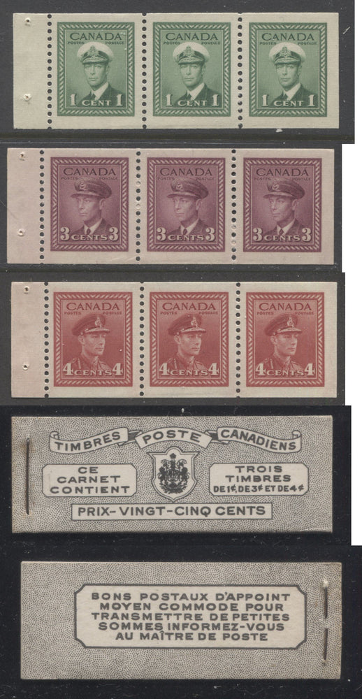 Canada #BK38a 1942-1949 War Issue Complete 25c, French Booklet Containing 1 Pane Each of 3 of 1c Green, 3c Rose-Purple and 4c Carmine Red, Harris Front Cover Type Vh , Back Cover Jvii, 7c & 6c Rate Page Brixton Chrome