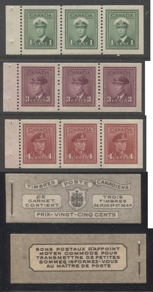 Canada #BK38a 1942-1949 War Issue Complete 25c, French Booklet Containing 1 Pane Each of 3 of 1c Green, 3c Rose-Purple and 4c Carmine Red, Harris Front Cover Type Vh , Back Cover Jvi, 7c & 6c Rate Page Brixton Chrome