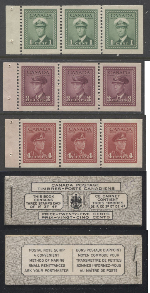 Canada #BK38b 1942-1949 War Issue Complete 25c, Bilingual Booklet Containing 1 Pane Each of 3 of 1c Green, 3c Rose-Purple and 4c Carmine Red, Harris Front Cover Type VIa , Back Cover Li, 7c & 5c Rate Page Brixton Chrome