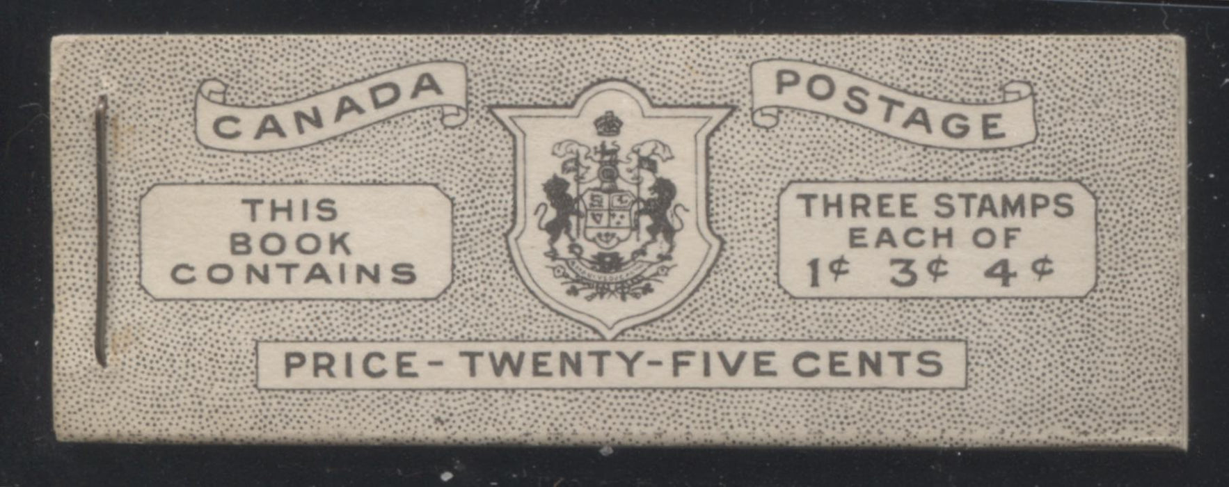 Canada #BK38b 1942-1949 War Issue Complete 25c, English Booklet Containing 1 Pane Each of 3 of 1c Green, 3c Rose-Purple and 4c Carmine Red, Harris Front Cover Type IVd , Back Cover Haiv, 7c & 5c Rate Page Brixton Chrome