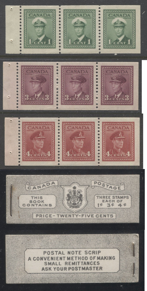 Canada #BK38b 1942-1949 War Issue Complete 25c, English Booklet Containing 1 Pane Each of 3 of 1c Green, 3c Rose-Purple and 4c Carmine Red, Harris Front Cover Type IVd , Back Cover Haiii, 7c & 5c Rate Page Brixton Chrome