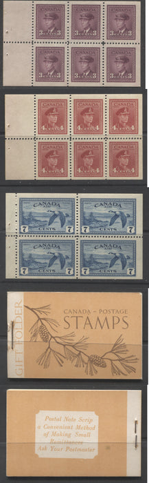 "Canada #BK39a 1942-1949 War Issue Complete $1.00, English Booklet Containing 1 Pane Each of 6 of 3c and 4c Plus 2 Panes of 4 7c Airmail Stamps, 17 mm Staple, Brown and Deep Orange Cover, Dot Under ""A"" of Canada Brixton Chrome"