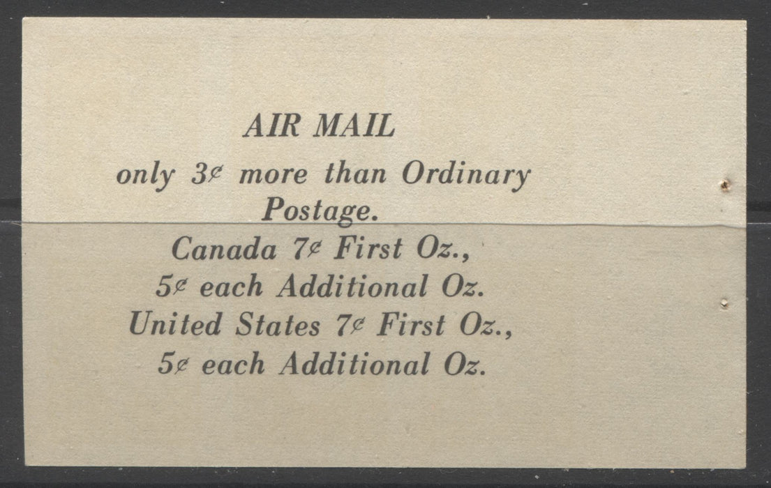 "Canada #BK39a (McCann #39b) 1942-1949 War Issue Complete $1.00, English Booklet Containing 1 Pane Each of 6 of 3c and 4c Plus 2 Panes of 4 7c Airmail Stamps, 14 mm Staple, Brown and Light Orange Cover, Constant Donut Flaw Above ""T"" of Postage Brixton Chrome"