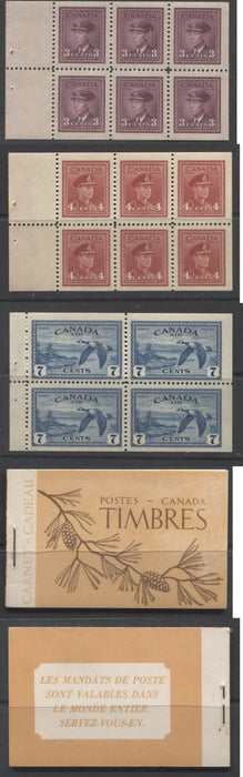 Canada #BK39a (McCann #39b) 1942-1949 War Issue Complete $1.00, French Booklet Containing 1 Pane Each of 6 of 3c and 4c Plus 2 Panes of 4 7c Airmail Stamps, 14 mm Staple, Brown and Orange Buff Cover Brixton Chrome