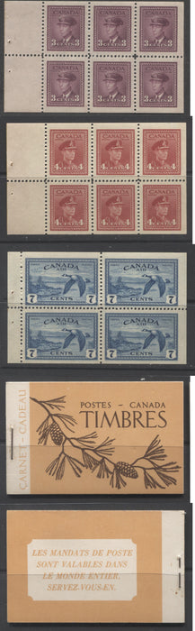 Canada #BK39a (McCann #39b) 1942-1949 War Issue Complete $1.00, French Booklet Containing 1 Pane Each of 6 of 3c and 4c Plus 2 Panes of 4 7c Airmail Stamps, 14 mm Staple, With Strong Horizontal Ribbing, Dark Brown and Light Orange Cover Brixton Chrome
