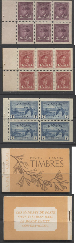 Canada #BK39a (McCann #39c) 1942-1949 War Issue Complete $1.00 French, Booklet Containing 1 Pane Each of 6 of 3c and 4c Plus 2 Panes of 4 7c Airmail Stamps, 12 mm Staple Brixton Chrome