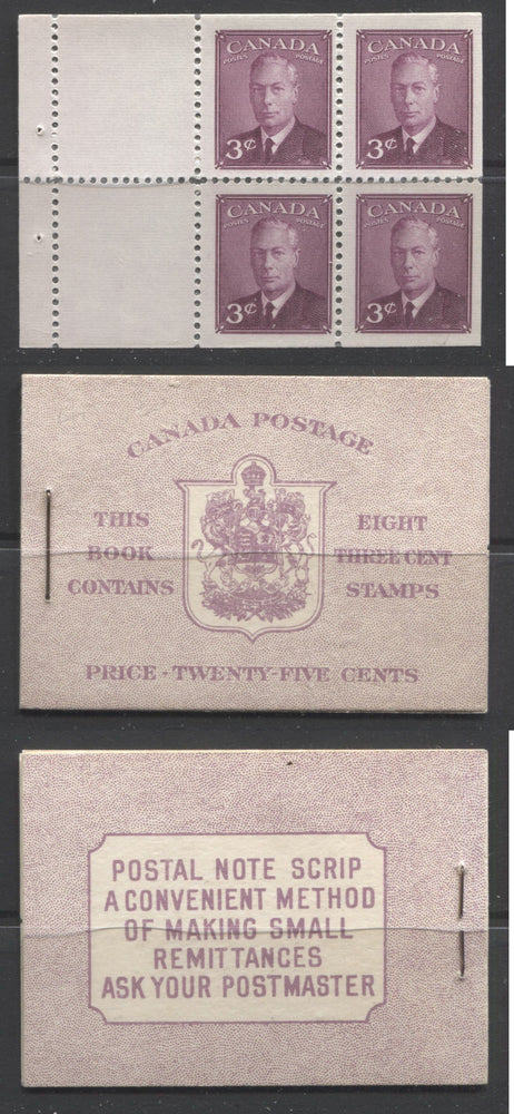 Canada #BK40a 1949-1953 Postes-Postage Issue Complete 25c English, Booklet Containing 2 Panes of the 3c Rose-Purple King George VI, Harris Front Cover Type IIe, Back Cover Caii, Unlisted No Rate Page Error Brixton Chrome