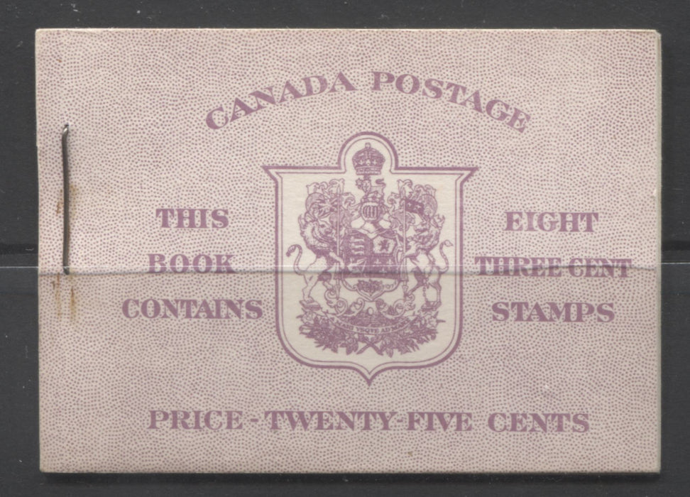 Canada #BK40a 1949-1953 Postes-Postage Issue Complete 25c English, Booklet Containing 2 Panes of the 3c Rose-Purple King George VI, Harris Front Cover Type IIe, Back Cover Caiii, 7c & 5c Rate Page Brixton Chrome