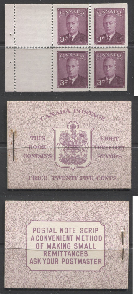 Canada #BK40a 1949-1953 Postes-Postage Issue Complete 25c English, Booklet Containing 2 Panes of the 3c Rose-Purple King George VI, Harris Front Cover Type IIe, Back Cover Caii, 7c & 5c Rate Page Brixton Chrome