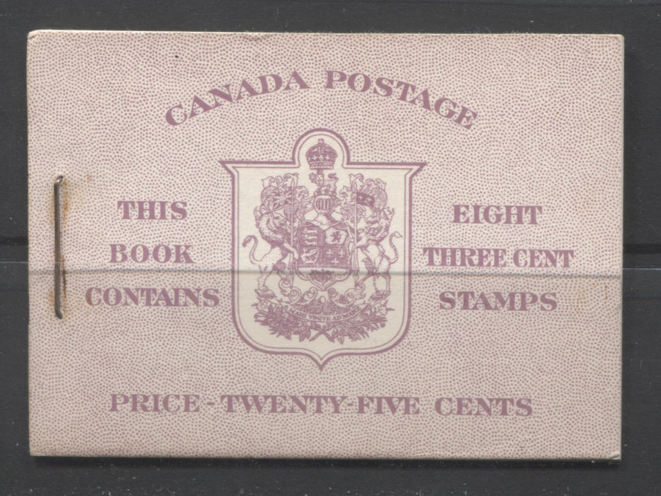 Canada #BK40a 1949-1953 Postes-Postage Issue Complete 25c English, Booklet Containing 2 Panes of the 3c Rose-Purple King George VI, Harris Front Cover Type IIe, Back Cover Cai, 7c & 5c Rate Page Brixton Chrome