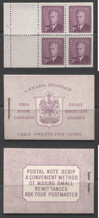 Canada #BK40a 1949-1953 Postes-Postage Issue Complete 25c English, Booklet Containing 2 Panes of the 3c Rose-Purple King George VI, Harris Front Cover Type IIf, Back Cover Caiii, 7c & 5c Rate Page, Production Oil Stains Brixton Chrome