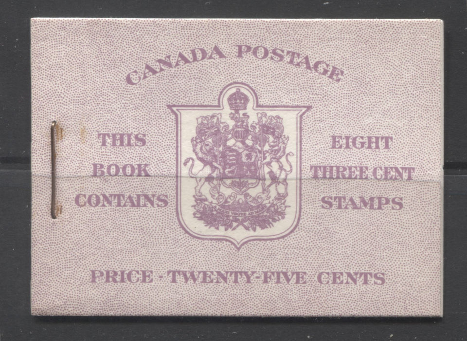 Canada #BK40a 1949-1953 Postes-Postage Issue Complete 25c English, Booklet Containing 2 Panes of the 3c Rose-Purple King George VI, Harris Front Cover Type IIf, Back Cover Cai, 7c & 5c Rate Page Brixton Chrome