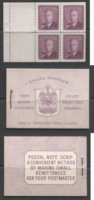 Canada #BK40a 1949-1953 Postes-Postage Issue Complete 25c English, Booklet Containing 2 Panes of the 3c Rose-Purple King George VI, Harris Front Cover Type IIf, Back Cover Caii, 7c & 5c Rate Page Brixton Chrome