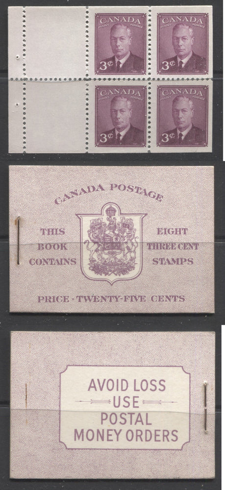 Canada #BK40b 1949-1953 Postes-Postage Issue Complete 25c English, Booklet Containing 2 Panes of the 3c Rose-Purple King George VI, Harris Front Cover Type IIe, Back Cover Ei, No Rate Page Brixton Chrome