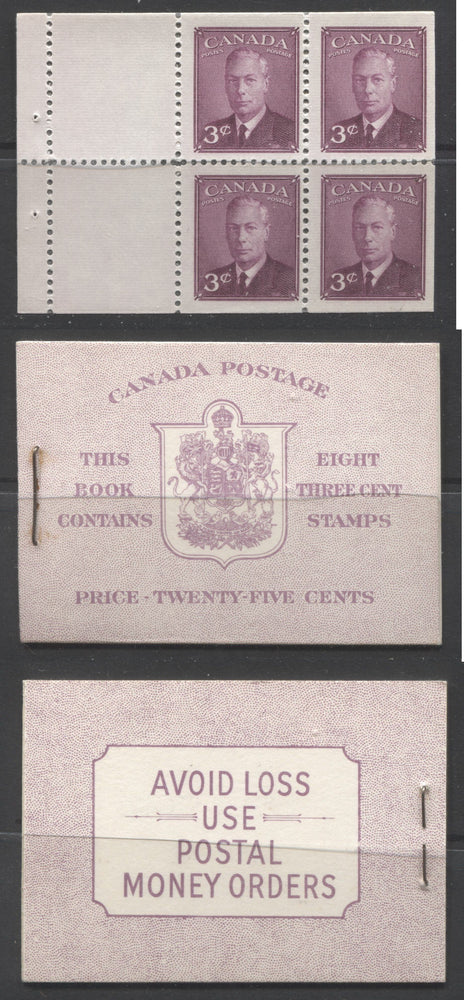 Canada #BK40b 1949-1953 Postes-Postage Issue Complete 25c English, Booklet Containing 2 Panes of the 3c Rose-Purple King George VI, Harris Front Cover Type IIe, Back Cover Eii, No Rate Page Brixton Chrome