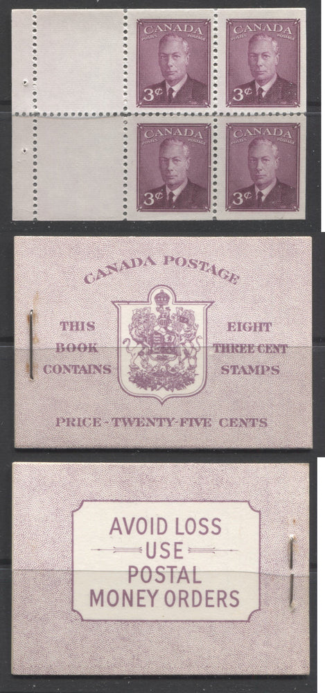 Canada #BK40b 1949-1953 Postes-Postage Issue Complete 25c English, Booklet Containing 2 Panes of the 3c Rose-Purple King George VI, Harris Front Cover Type IIf, Back Cover Eiv, No Rate Page Brixton Chrome