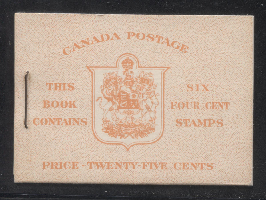 Canada #BK41a 1949-1953 Postes-Postage Issue Complete 25c, English Booklet Containing 1 Pane of 6 of the 4c Dark Carmine King George VI Harris Front Cover Type IIi , Back Cover Caiv, 7c & 5c Rate Page Brixton Chrome