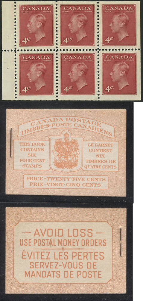 Canada #BK41b 1949-1953 Postes-Postage Issue Complete 25c, Bilingual Booklet Containing 1 Pane of 6 of the 4c Dark Carmine King George VI Harris Front Cover Type IIIe , Back Cover Fai, No Rate Page Brixton Chrome