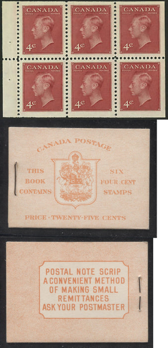 Canada #BK41b 1949-1953 Postes-Postage Issue Complete 25c, English Booklet Containing 1 Pane of 6 of the 4c Dark Carmine King George VI Harris Front Cover Type IIi , Back Cover Caiv, No Rate Page Brixton Chrome