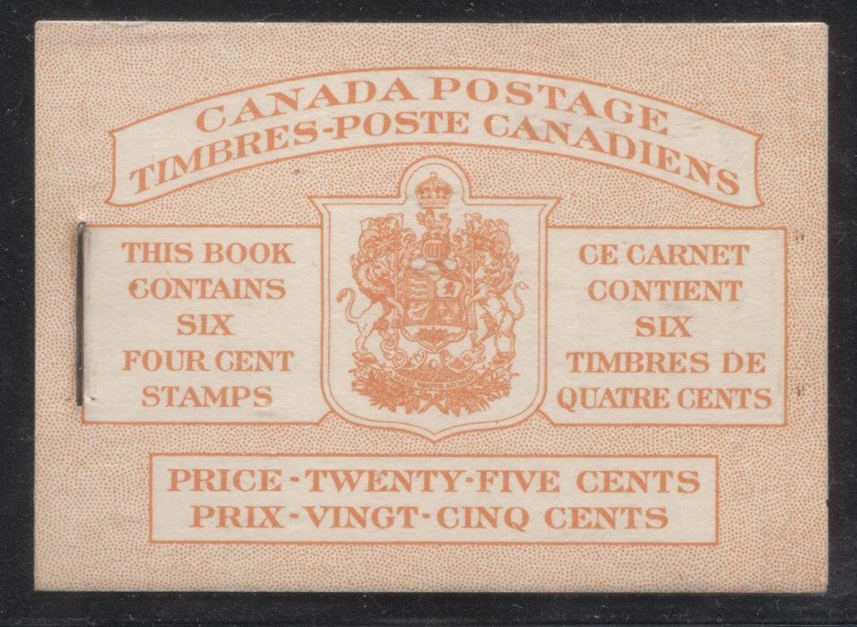 Canada #BK42a 1949-1953 Postes-Postage Issue Complete 25c, Bilingual Booklet Containing 1 Pane of 6 of the 4c Orange King George VI Harris Front Cover Type IIIf , Back Cover Gii, No Rate Page Brixton Chrome