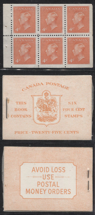 Canada #BK42a 1949-1953 Postes-Postage Issue Complete 25c, English Booklet Containing 1 Pane of 6 of the 4c Orange King George VI Harris Front Cover Type IIi , Back Cover Eii, No Rate Page Brixton Chrome