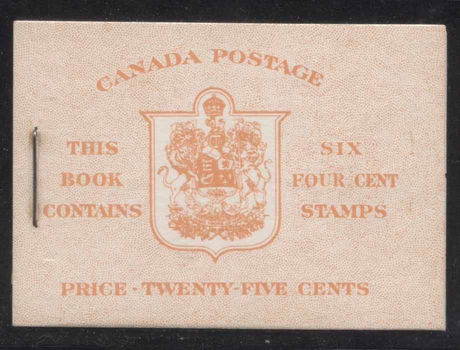 Canada #BK42a 1949-1953 Postes-Postage Issue Complete 25c, English Booklet Containing 1 Pane of 6 of the 4c Orange King George VI Harris Front Cover Type IIi , Back Cover Eiv, No Rate Page Brixton Chrome