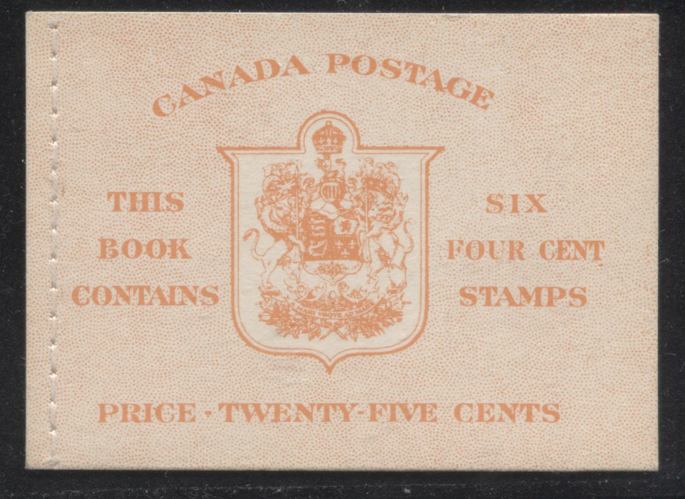 Canada #BK42b 1949-1953 Postes-Postage Issue Complete 25c, English Booklet Containing 1 Pane of 6 of the 4c Orange King George VI Harris Front Cover Type IIi , Back Cover Eii, No Rate Page, Stitched Binding Brixton Chrome