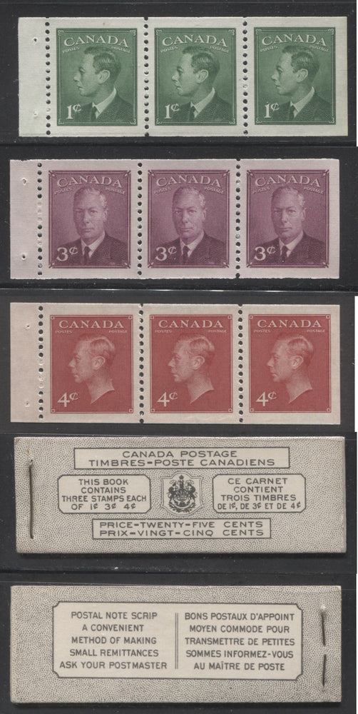 Canada #BK43a 1949-1953 Postes-Postage Issue Complete 25c Bilingual, Booklet Containing 1 Pane of 3 of Each of the 1c Green, 3c Rose Purple and 4c Carmine King George VI, Harris Front Cover Type VIm, Back Cover Kaxii, 5c & 7c Rate Page Brixton Chrome