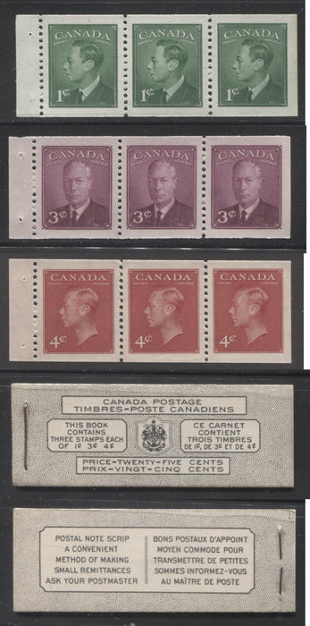 Canada #BK43a 1949-1953 Postes-Postage Issue Complete 25c Bilingual, Booklet Containing 1 Pane of 3 of Each of the 1c Green, 3c Rose Purple and 4c Carmine King George VI, Harris Front Cover Type VIf, Back Cover Kavii, 5c & 7c Rate Page Brixton Chrome