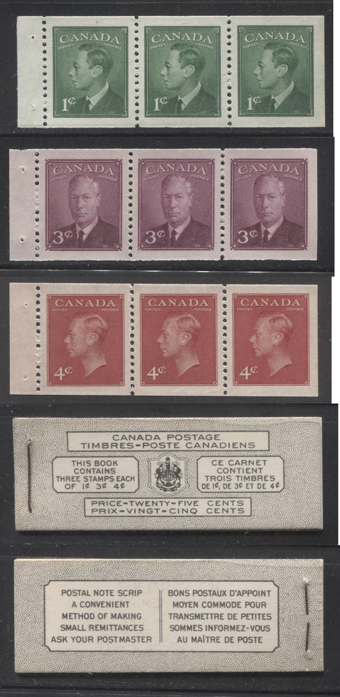 Canada #BK43a 1949-1953 Postes-Postage Issue Complete 25c Bilingual, Booklet Containing 1 Pane of 3 of Each of the 1c Green, 3c Rose Purple and 4c Carmine King George VI, Harris Front Cover Type VIc, Back Cover Kav, 5c & 7c Rate Page Brixton Chrome