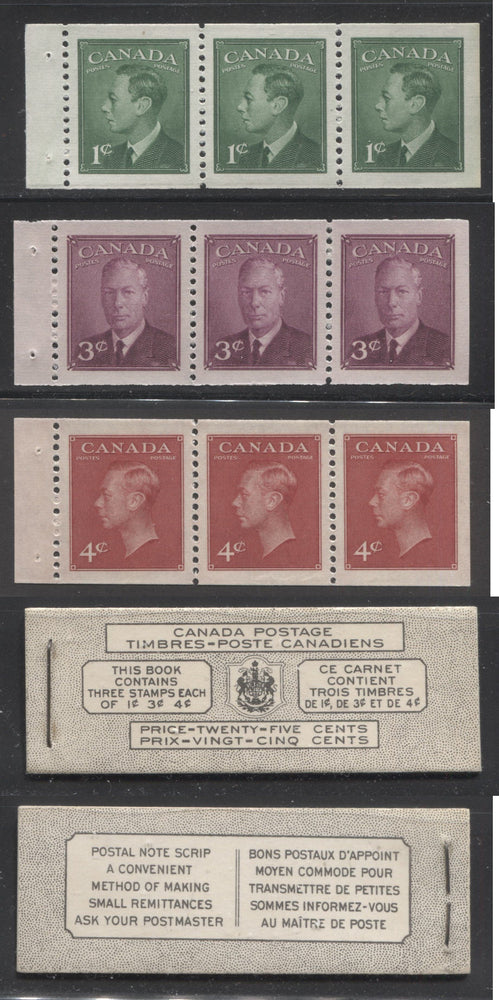 Canada #BK43a 1949-1953 Postes-Postage Issue Complete 25c Bilingual, Booklet Containing 1 Pane of 3 of Each of the 1c Green, 3c Rose Purple and 4c Carmine King George VI, Harris Front Cover Type VIh, Back Cover Kaxii, 5c & 7c Rate Page Brixton Chrome