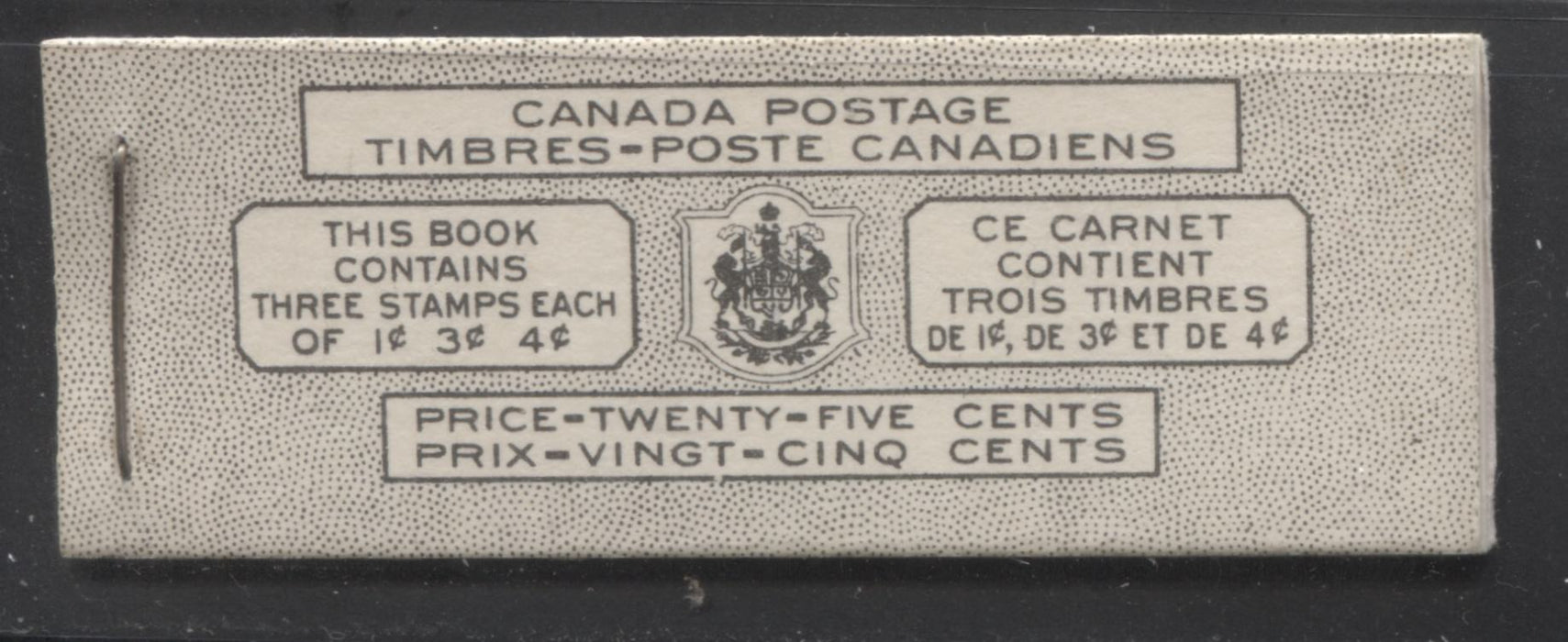 Canada #BK43a 1949-1953 Postes-Postage Issue Complete 25c Bilingual, Booklet Containing 1 Pane of 3 of Each of the 1c Green, 3c Rose Purple and 4c Carmine King George VI, Harris Front Cover Type VIj, Back Cover Kaii, 5c & 7c Rate Page Brixton Chrome