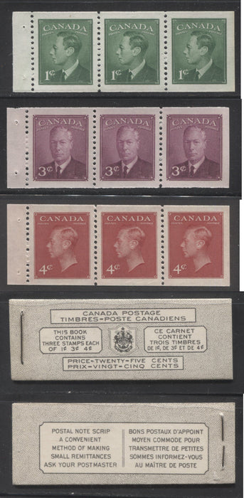 Canada #BK43a 1949-1953 Postes-Postage Issue Complete 25c, Bilingual Booklet Containing 1 Pane of 3 of Each of the 1c Green, 3c Rose Purple and 4c Carmine King George VI Harris Front Cover Type VIc , Back Cover Kaiii, 5c & 7c Rate Page Brixton Chrome