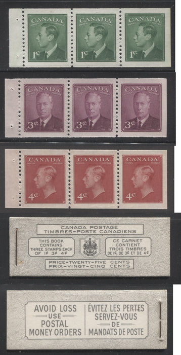Canada #BK43b 1949-1953 Postes-Postage Issue Complete 25c Bilingual, Booklet Containing 1 Pane of 3 of Each of the 1c Green, 3c Rose Purple and 4c Carmine King George VI, Harris Front Cover Type VIg, Back Cover Lvi, No Rate Page Brixton Chrome