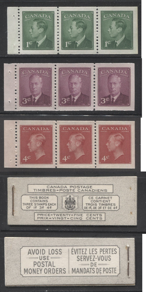 Canada #BK43b 1949-1953 Postes-Postage Issue Complete 25c Bilingual, Booklet Containing 1 Pane of 3 of Each of the 1c Green, 3c Rose Purple and 4c Carmine King George VI, Harris Front Cover Type VIm, Back Cover Lxii, No Rate Page Brixton Chrome