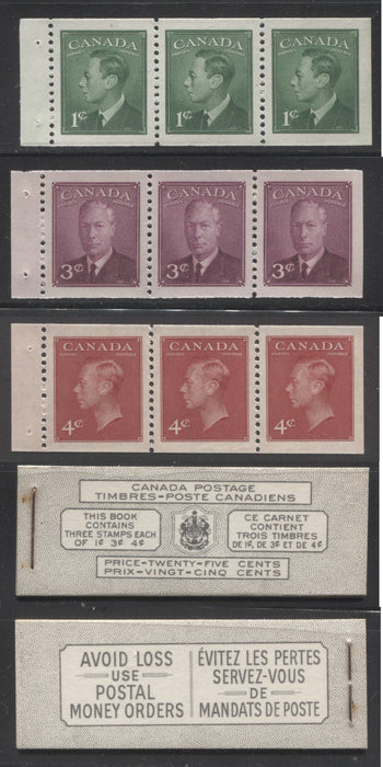 Canada #BK43b 1949-1953 Postes-Postage Issue Complete 25c Bilingual, Booklet Containing 1 Pane of 3 of Each of the 1c Green, 3c Rose Purple and 4c Carmine King George VI, Harris Front Cover Type VIj, Back Cover Lii, No Rate Page Brixton Chrome