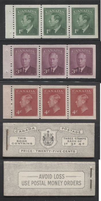 Canada #BK43b 1949-1953 Postes-Postage Issue Complete 25c English, Booklet Containing 1 Pane of 3 of Each of the 1c Green, 3c Rose Purple and 4c Carmine King George VI, Harris Front Cover Type IVb, Back Cover Iii, No Rate Page Brixton Chrome