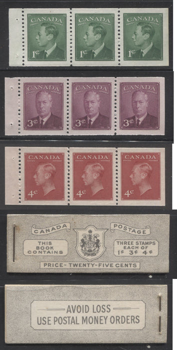 Canada #BK43b 1949-1953 Postes-Postage Issue Complete 25c English, Booklet Containing 1 Pane of 3 of Each of the 1c Green, 3c Rose Purple and 4c Carmine King George VI, Harris Front Cover Type IVc, Back Cover Ii, No Rate Page Brixton Chrome
