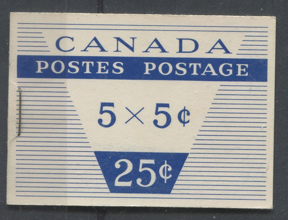 Canada #BK49m (SG#SB53) Wilding Issue 25c Booklet Containing 5c x 5 Cover Type 2 DF LV-IV Cover/DF Gr. Pane VF-80 NH Brixton Chrome