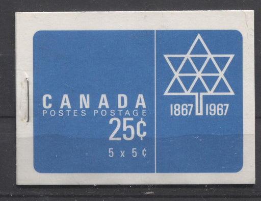 Canada #BK55a (SG#SB60) 25c Centennial Booklet Bright Blue DF/DF-fl Covers LF-fl Pane VF-75 NH Brixton Chrome