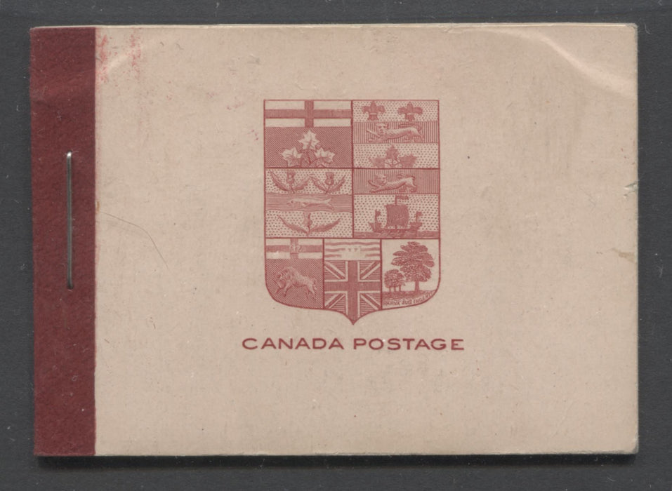 Canada #BK5d 1912-1928 Admiral Issue, Complete 25¢ English Booklet, 17.7 mm x 21.5 mm Printing, Deep Carmine Lake on Pink Cover Brixton Chrome