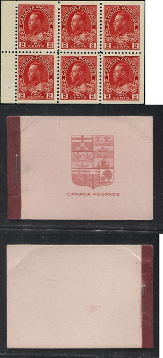 Canada #BK5d 1912-1928 Admiral Issue, Complete 25¢ English Booklet, 17.7 mm x 21.5 mm Printing, Pale Carmine Red on Pink Cover Brixton Chrome