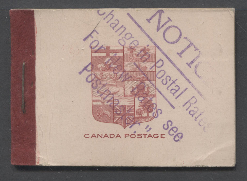 Canada #BK5f 1912-1928 Admiral Issue, Complete 25¢ English Booklet, 17.7 mm x 21.5 mm Printing, Deep Carmine Lake on Pink Cover, Rate Change Overprint Brixton Chrome