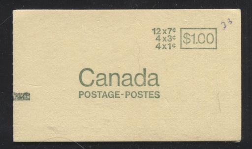 Canada #BK67 1967-1973 Centennial Issue, Complete $1 Counter Booklet, Horizontal Wove Paper, Dull Paper Brixton Chrome