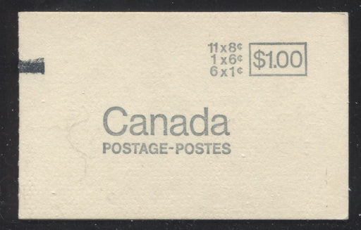 Canada #BK70a 1967-1973 Centennial Issue, Complete $1 Counter Booklet, Horizontal Wove Paper, Dull Paper Brixton Chrome