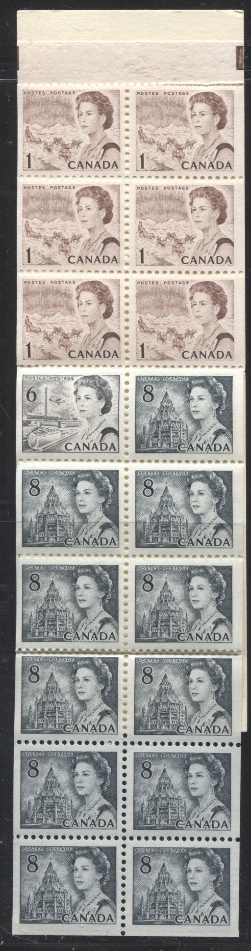 Canada #BK70a 1967-1973 Centennial Issue, Complete $1 Counter Booklet, Horizontal Wove Paper, Dull Paper Brixton Chrome VF-80 Untagged