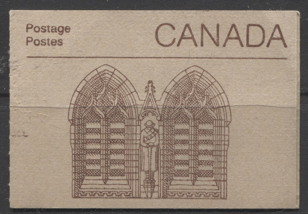 "Canada #BK88Bb, Bfi, Bh 1982-1987 Artifacts and National Parks Issue, Complete 50¢ Counter Booklet, Uncoated Rolland Paper, 4 mm GT-2 Tagging & GT-4 on 34¢, Left Tag Bar on 3/1, Dead Cover Brixton Chrome VF-84 Double Windows Abitibi Cover With Small ""R"" on Back 70 mm Medium Fluorescent"