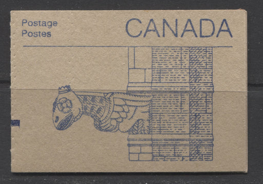 Canada #BK96a 1982-1987 Artifacts and National Parks Issue, Complete 50¢ Counter Booklet, Coated Harrison Paper, Dull Paper, 4 mm GT-4 Tagging on 37¢, Blue Bars on Tab Brixton Chrome VF-80 Gargoyle Cover Left Tag Bar on 3/1